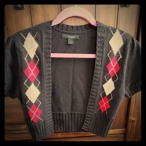 Express Argyle Bolero Sweater